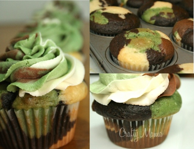 camouflage cupcakes diy
