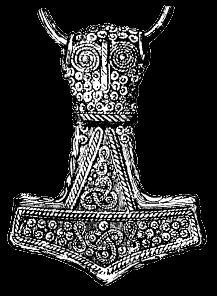 Ilustración de un martillo de plata enchapado en oro encontrado en Bredsätra Öland Suecia