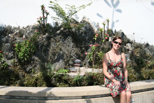 Lynette outside one of the ever popular miniature gardens in Hoi An.