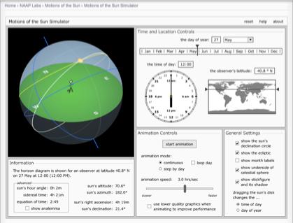 Simulador - Posição do Sol