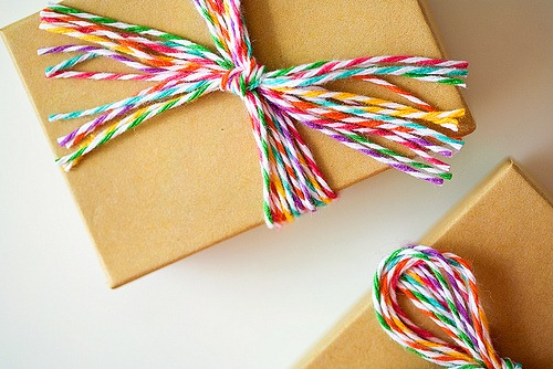 rainbow bakers twine gift wrap by the twinery