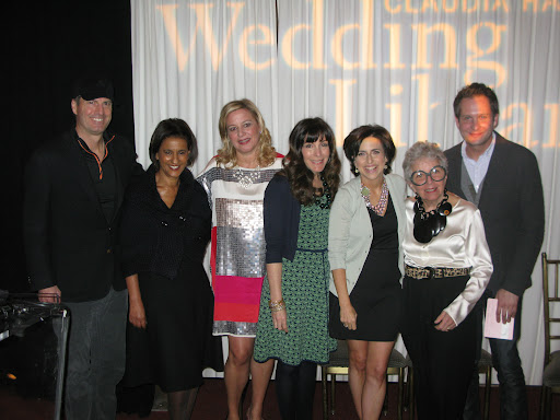 The wonderful panel of wedding industry experts. From left: Caterer Peter Callahan, dress designer Amsale, Claudia Hanlin of The Wedding Library, event planner Mindy Weiss, myself, baker Sylvia Weinstock, and florist Matthew Robbins.