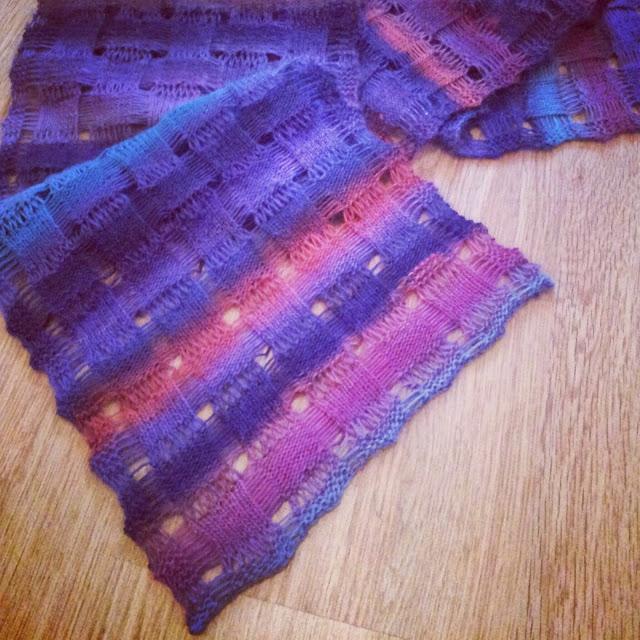 Knit Drop Stitch Shawl Pattern : Knitting and so on: Drop Stitch Scarf