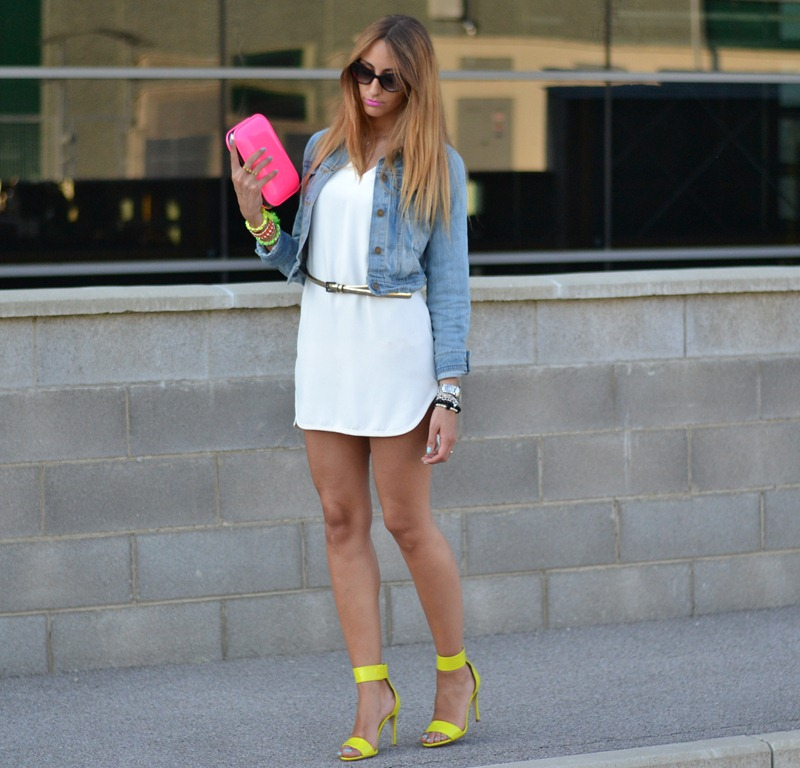 Zara dress, Neon, Zara TRF clutch, Zara white dress, Oasap.com, H&M, H&M sandals