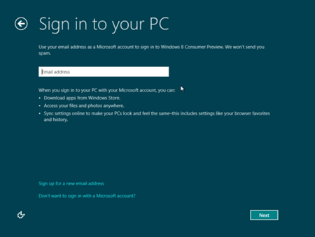 Sign in to Windows 8