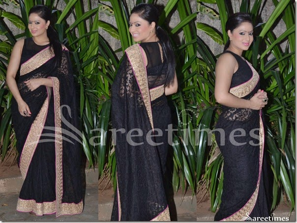 Nikesha_Patl_Black_Embellished_Saree
