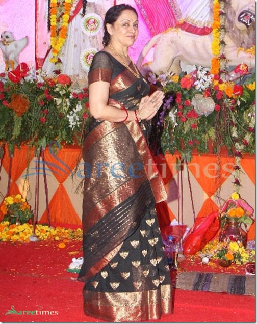 Hema_Malini_Black_Saree