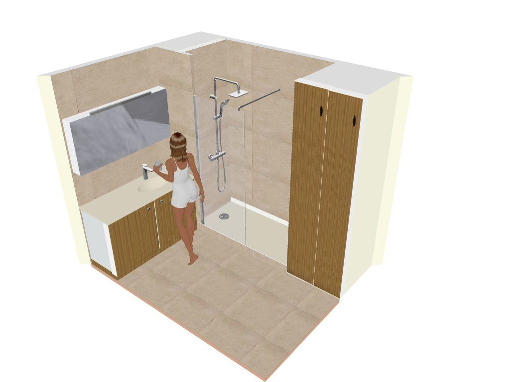 R novation d 39 une salle de bain avec lave linge dans meuble vasque for Plan de salle de bain avec douche