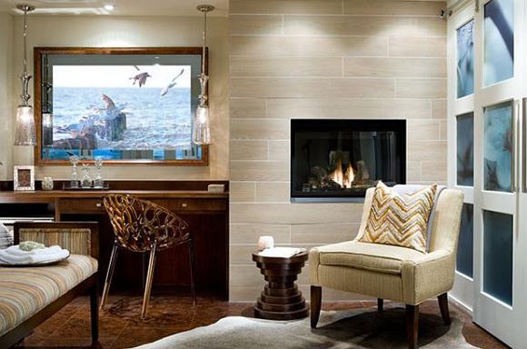 Moderno diseño de las habitaciones con chimenea