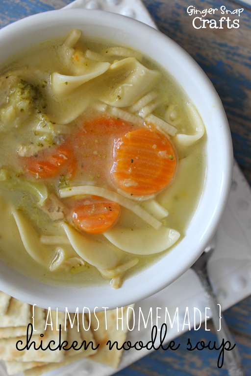{almost homemade} Chicken Noodle Soup at GingerSnapCrafts.com #recipe #chickennoodlesoup