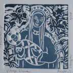 Vierge bleue linogravure tirage numéroté sur 10 40€