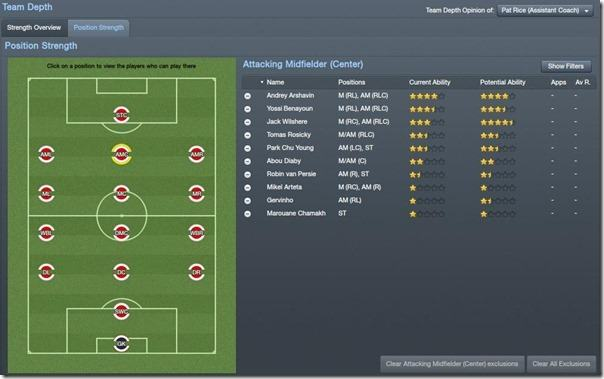 Position strength in Football Manager 2012