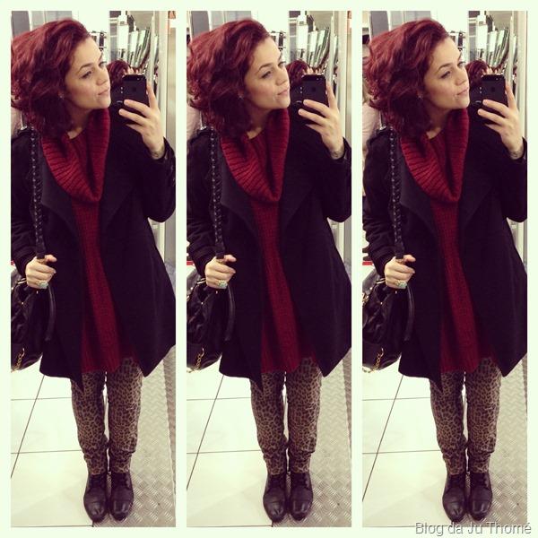 look calça estampada e casaco preto (1)