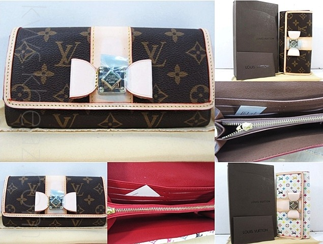 Dompet Wanita LV M60278 Sarah Noeud Monogram. Multicolor putih  (LV M60278 Sarah Noeud Monogram. Multicolor White Wallet )