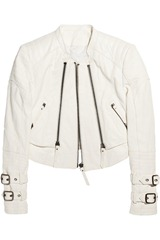 Karl Oralee layered leather biker jacket