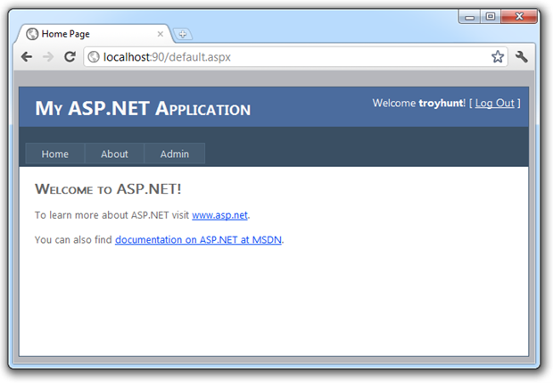 Logged in to the application with the admin link visible