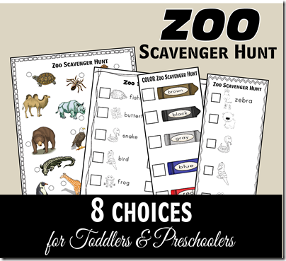 FREE Zoo Scavenger Hunt for Toddler and Preschool