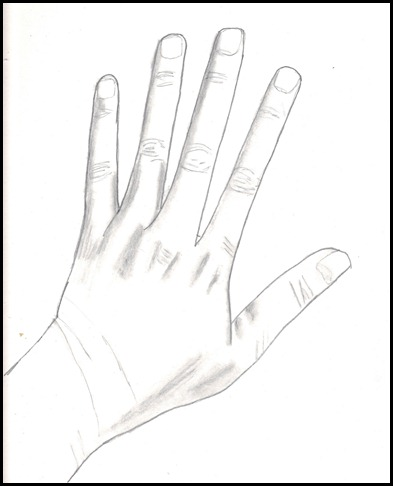 pencil contour drawing of hand