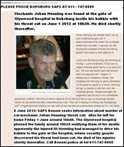 Henning Johan Boksburg June 1 2012 throat cut shows up at hospital in bakkie dies shortly thereafter June 1 2012