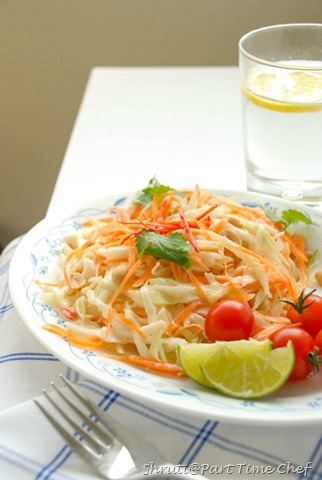 Carrot and Cabbage salad with coconut milk dressing window view