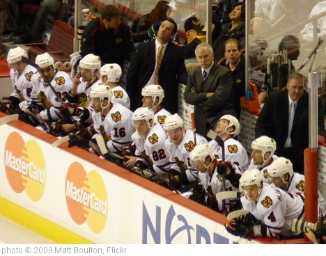 'Blackhawks' bench' photo (c) 2009, Matt Boulton - license: http://creativecommons.org/licenses/by-sa/2.0/