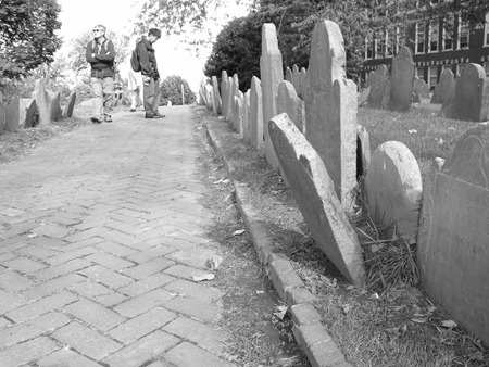 Fun with black-and-white photography at Copp's Burying Ground.