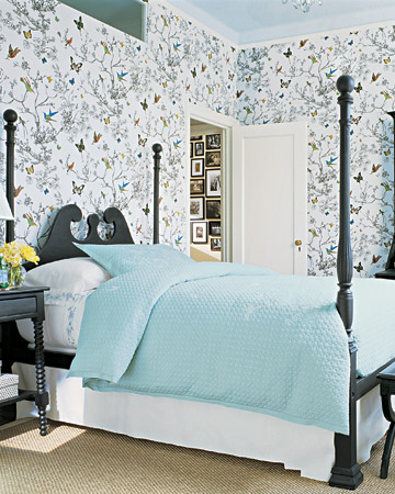 For me, it's all about the wallpaper in Susan Lyne's guest bedroom.