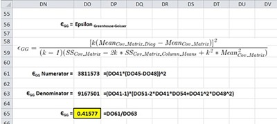 Repeated-Measure ANOVA in Excel - Greenhouse-Geisser Epsilon Calculations