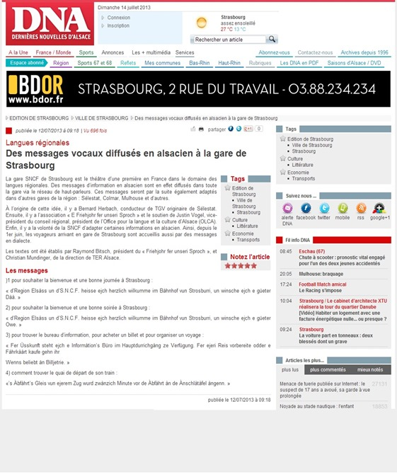 Anoncias en alsacian a la SNCF DNA