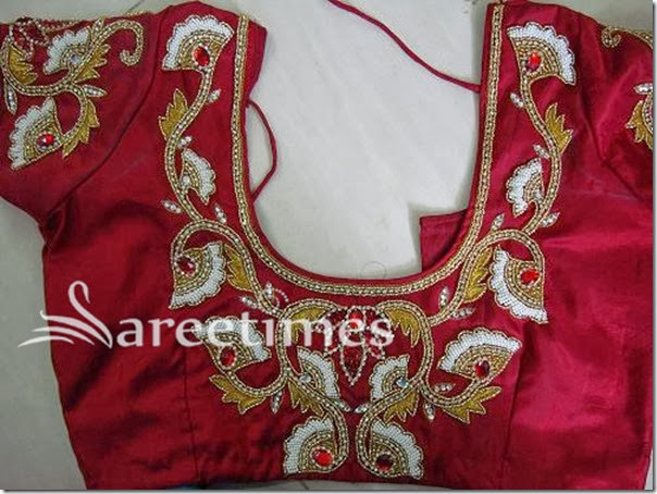 Maroon_Embellished_Short_Sleeves_Saree_Blouse