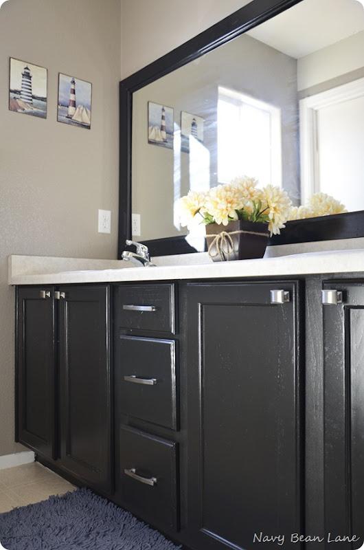 navy bean lane black bathroom laundry room cabinets before after. Black Bedroom Furniture Sets. Home Design Ideas