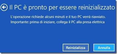 Windows 8 Il PC è pronto per essere reinizializzato