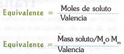 formula equivalente de soluto