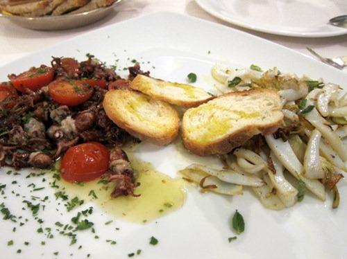 """Straccetti di seppia con carciofi croccanti e menta - Cuttlefishes with crunchy artichokes and mint and Moscardini alla """"Diavola"""" - """"Devilled"""" baby octopus"""