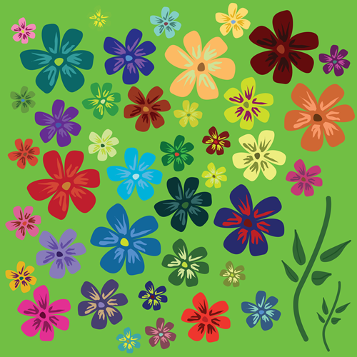 Vector - Flowers_green_BG by DragonArt