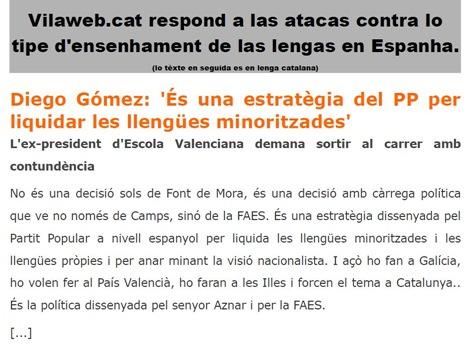 atacas contra l'ensenhament de las lengas en Espanha