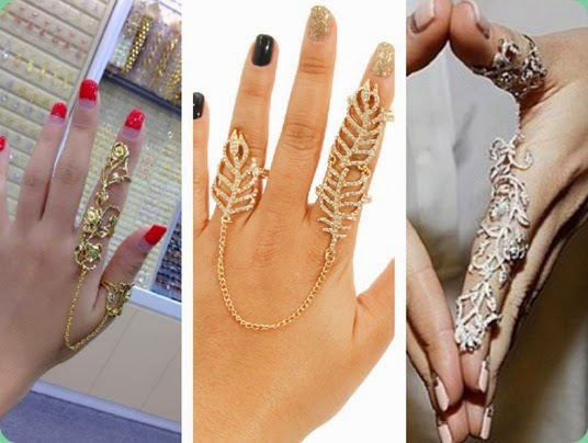 Double finger knuckle fashion ring. trend alert