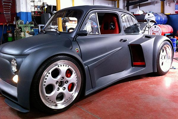 widebody Fiat 500 with Lamboghini V12 engine swap