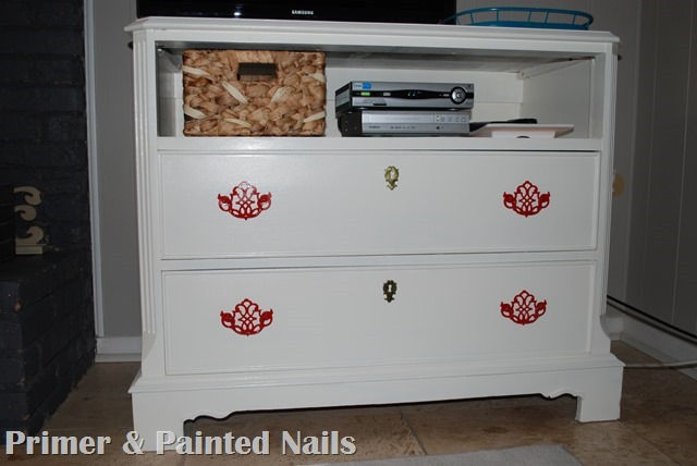 Dresser turned TV Stand Drawers Complete - Primer & Painted Nails
