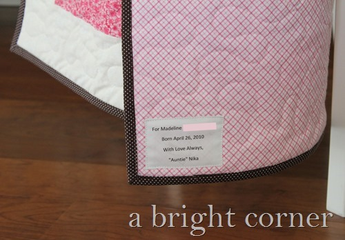 baby shower quilt label