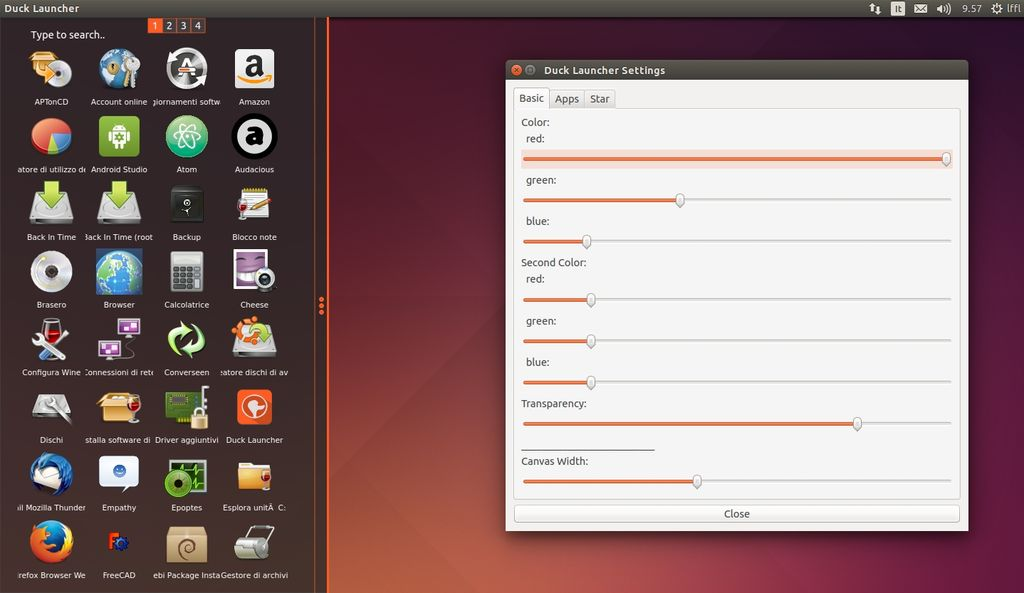 Menu di Duck Launcher in Ubuntu Linux