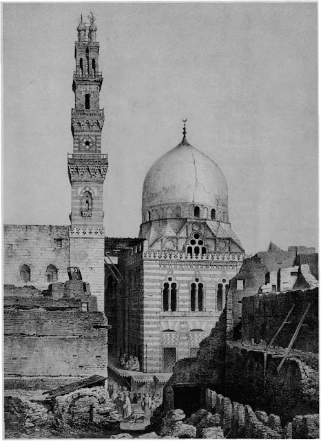 Mosque and mausoleum of Sultan Qansuh al-Ghuri, 16th century. This view highlights the mausoleum's dome and mosque's minaret, which crown the mercantile area below. The double- bulbed minaret, not part of the original structure, was inspired by minarets from the mosques of Qanibay al-Rammah as well as al-Ghuri at al- Azhar.