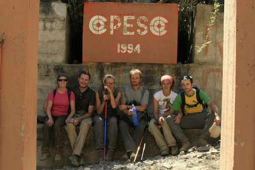 The happy crew at the bottom of the downhill; now all that is left is about 1,500m of up!