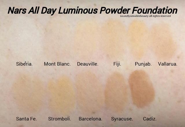 Nars All Day Luminous Powder Foundation SPF 24; Review & Swatches of Shades Siberia, Mont Blanc, Deauville, Fiji, Punjab, Vallarus.  Santa Fe, Stromboli, Barcelona, Syracuse, Cadiz