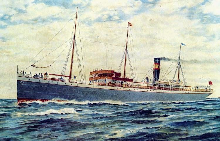 El ARDEOLA, de 1.904, primer vapor construido ex-profeso para la linea de Canarias por Yeoward Line.Del libro Sunward by Yeoward.JPG