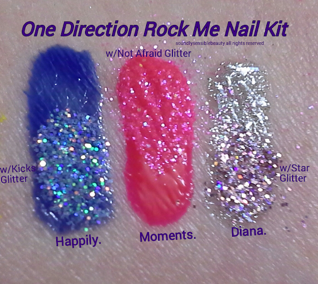 1D Nail Lacquer/Polish & Sparkle Swatches of Shades Happily, Moments, Diana, Not Afraid, Star, Kick