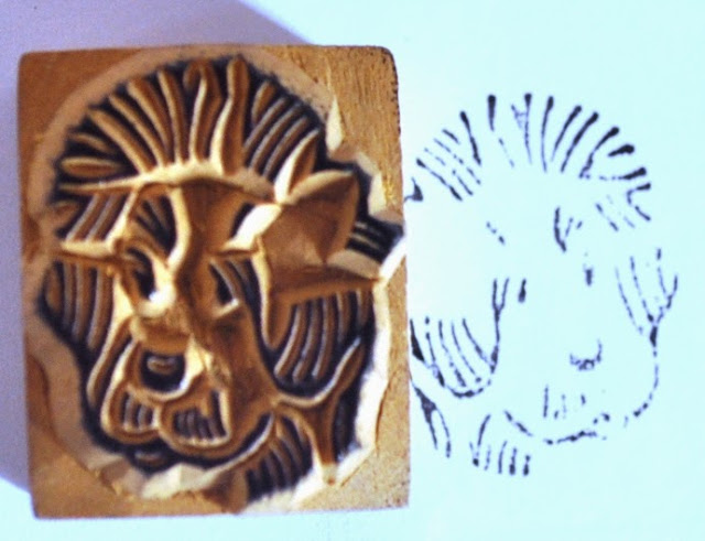 Wooden Block Dog Face Stamp