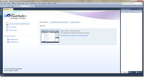 Start Page of Visual Studio 11 Developer Preview