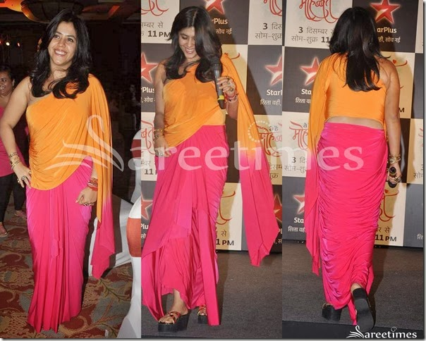 Ekta_Kapoor_Pink_Orange_Half_and_Half_Saree
