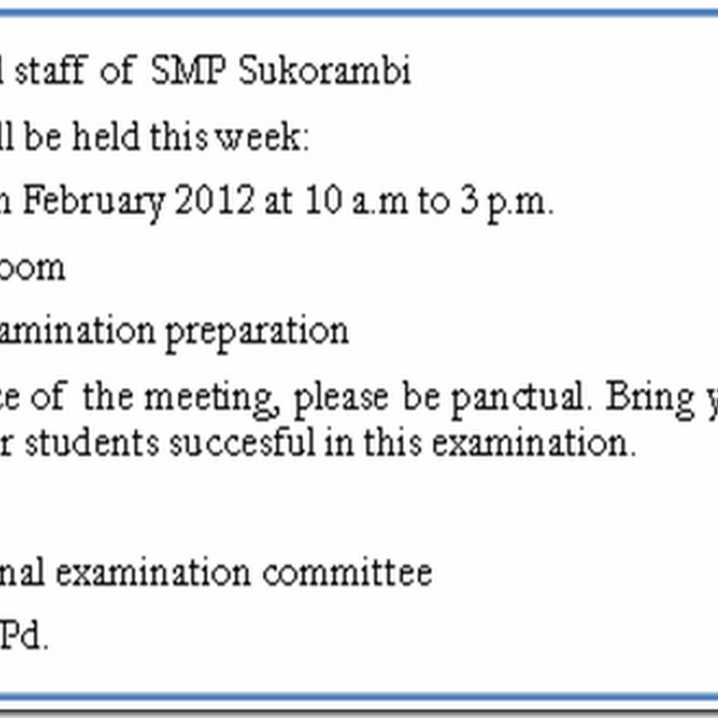 Contoh Pengumuman (announcement)